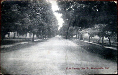 WOLCOTTVILLE, INDIANA: East County Line Street, Residential Section View, 1913