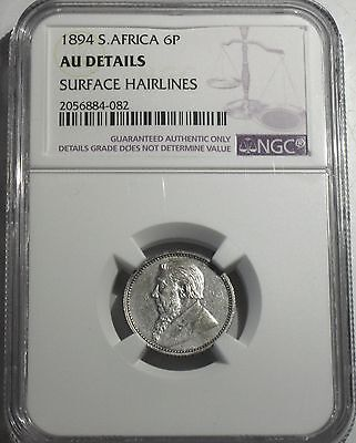 1894 South Africa Six Pence, Ngc Au Details