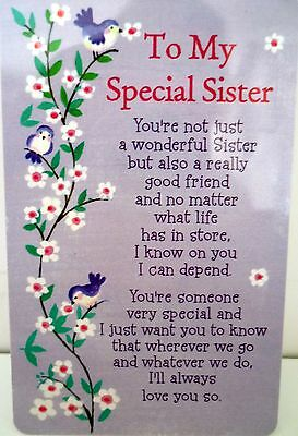 "Heartwarmer Keepsake Message Card ""special Sister"" With Inspirational Verse"