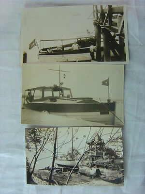Lot of 3 Vintage Photos 1930s Boats 790903