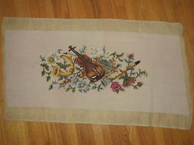 Vintage Musical Instruments NEEDLEPOINT Panel~Lrg Piano Bench Cover~Violin~Horn