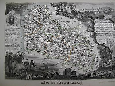 Handcolored Map ca. 1860 French Calais Northern France National  Atlas Levasseur