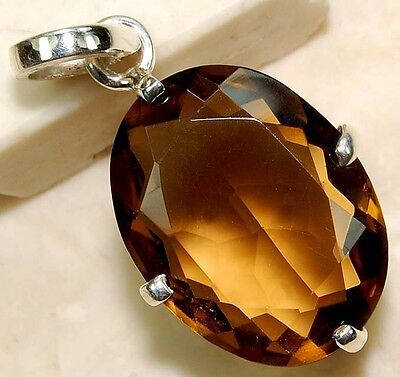 6CT Natural Smoky Topaz 925 Solid Genuine Sterling Silver Pendant Jewelry, S15-1