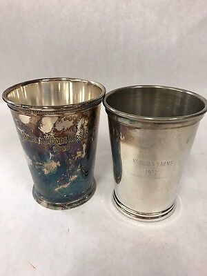 Set of 2 Vintage Ornate Silver Plate  Cups engraved 1969-72 Horse Show