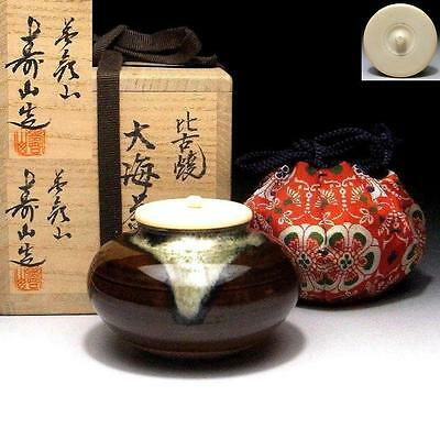 FN1: Japanese Tea Caddy with high-class lid by Famous potter, Jyuzan Fujisaki