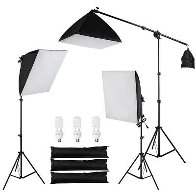"Photo Studio Photography 3x 24"" Softbox Light Boom Arm Stand Pro Lighting Kit"