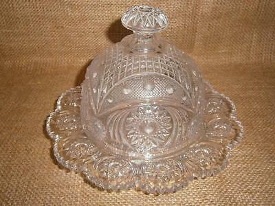 Early Vintage / Antique Glass Covered Dome BUTTER / CHEESE Keeper PIN WHEEL