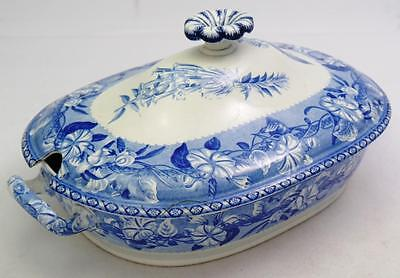 "Wedgwood Antique Blue White Transferware Floral 14"" Covered Entree Serving Bowl"