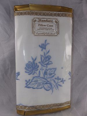 """Vintage Pair Embroidered Handiart Pillow Cases ~ Housewife Style ~ 18"""" x 29"""" NIP"""