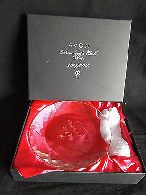 """Avon President's Club 7-1/2"""" Crystal Plate 2014~2015 PC with Stand NIB"""