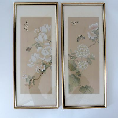 Pair Of Vintage Chinese Silk Paintings Featuring Camellia And Butterfly, Signed