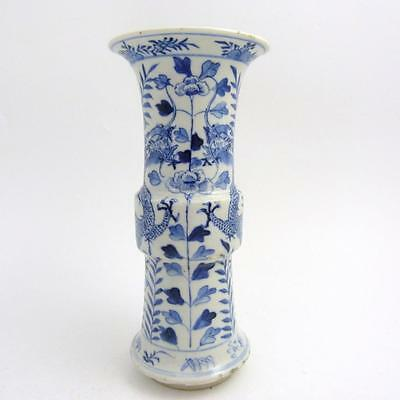Chinese Blue And White Porcelain Gu Vase, 19Th Century Daoguang Period