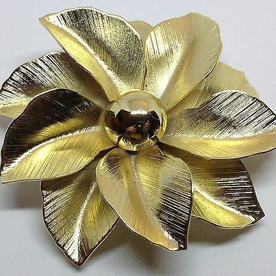 Vintage FLOWER BROOCH PIN Layered Petals Gold Tone Metal Costume Jewelry