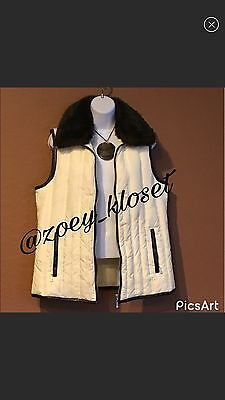 CHARTER CLUB Women's Ivory Brown Faux Fur Collar Size M Puffer Vest