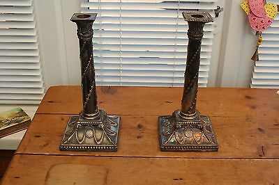 Victorian English,Silver Plate Pair Of Collum Candlesticks 19C