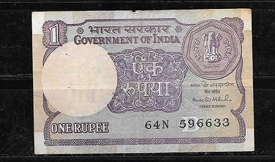 INDIA #78Aj 1994-B RUPEE OLD VG USED CURRENCY BILL BANKNOTE NOTE PAPER MONEY