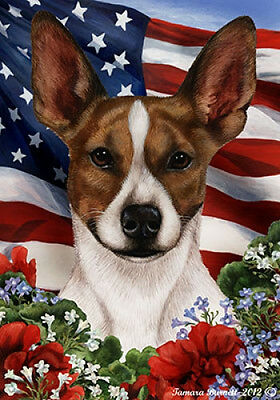 Garden Indoor/Outdoor Patriotic I Flag - Brown & White Rat Terrier 161301