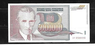 YUGOSLAVIA #121 1993 5 MILLION DINARA VF circULATED old BANKNOTE PAPER MONEY