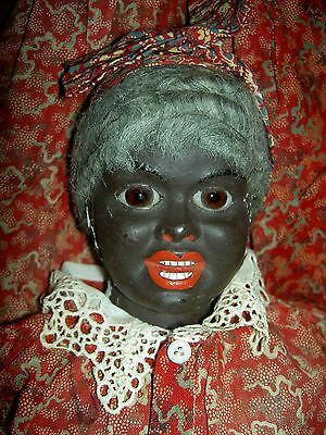 Incredible, BLACK antique papiermache (S&H portrait) doll, GLASS eyes, all orig.