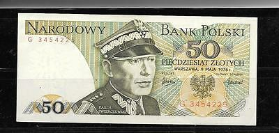 POLAND #142a UNC MINT 1975 50 ZLOTYCH OLD BANKNOTE NOTE PAPER MONEY CURRENCY