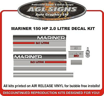 Mercury Mariner 150 hp 2.0 Litre Outboard Decal Kit  reproductions