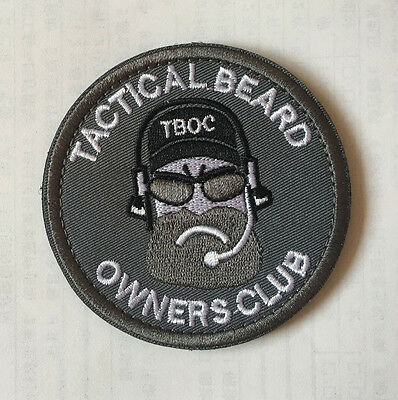 TACTICAL BEARD OWNERS CLUB MILITARY BADGES EMBROIDERED HOOK PATCH sh+ 1009