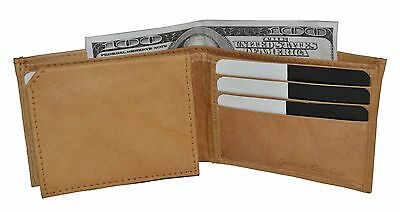 Mens Wallet Slim Compact All Time Favourite Bifold Genuine Leather Tan New