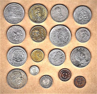 Mexico, 17 coin lot with Silver (2), Hisp 4R coin at E.F. + Commemorative coins