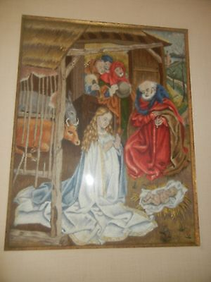 Antique Early Nativity Scene Needlepoint Embroidery Framed Beautiful Stitch Work