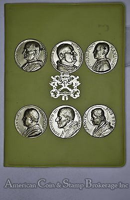 Vatican City Bronze 6 Medal Set Popes of the Early 20th Century made in italy