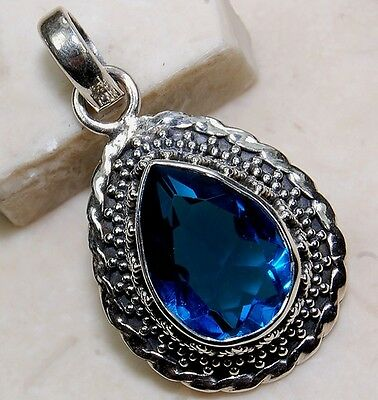 5CT Sapphire  925 Solid Sterling Detailed Design Pendant Jewelry , S14-6