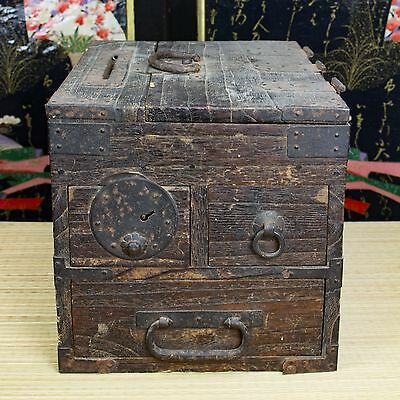 Japanese Antique 150 Year Old Edo Era Wooden Suzuribako Calligraphy Tansu