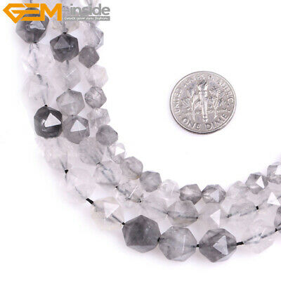 AAA Grade Faceted Polygonal Grey Cloudy Quartz Beads For Jewelry Making 15''