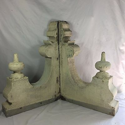 1890's Antique Pair(2) Wood Corbels Brackets Victorian Gingerbread White 402-17