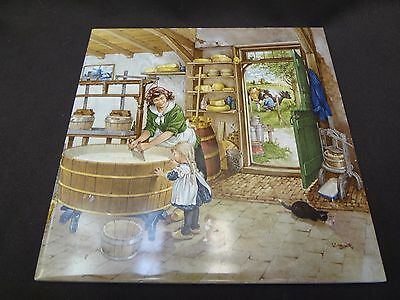 Royal Mosa  Holland Hand Painted Tile Artists  Signed  Hunnik  Farm Scene