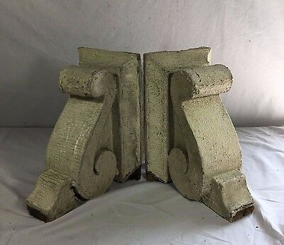 1890's Antique Pair(2) Wood Corbels Brackets Victorian Gingerbread Ivory 406-17