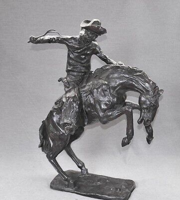 Large Bronze Horse and Cowboy Bronco Buster by Remington