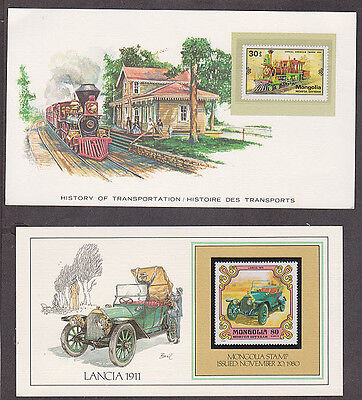 Mongolia - 1980 Two cards with mint transportation stamps and 5 used stamps