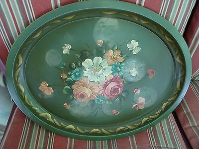 """Vtg. 17 1/2"""" Hand Painted Metal Toleware Oval Tray-Green-Pink/blue/white Flowers"""