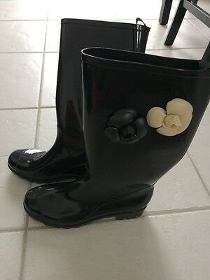 Women's Capelli Black Rain Boots Flowers Tall Boots Size 7