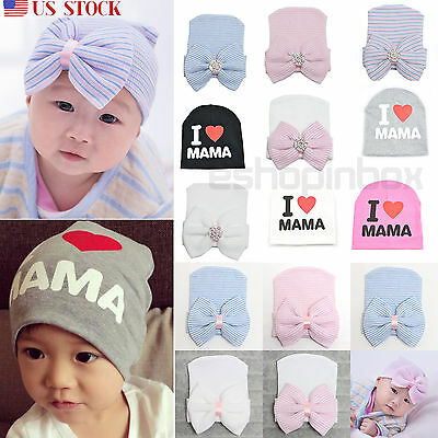 Sweet Newborn Baby Infant Girl Toddler Bowknot Hospital Cap Floral Beanie Hat