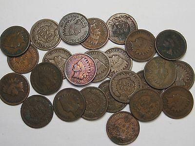 25 (½ Roll) US INDIAN HEAD Cent Pennies. G/VG. Mostly 1900's & Some 1890's.  #7
