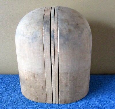 Antique Wood Wooden Hat Block Head Style Form Display Mold Millinery Size 22 VTG