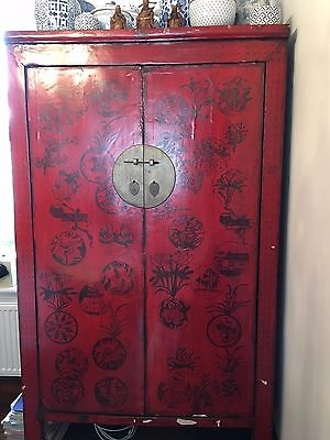 * Old Chinese Large Red Double Fronted Wedding Cupboard  *