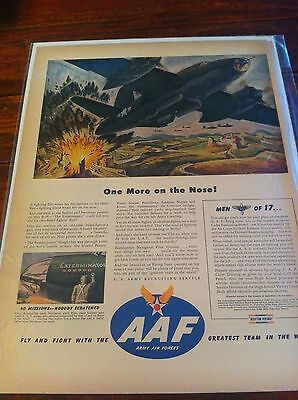 Vintage 1944 AAF One More On The Nose B-26 The Exterminator WW II Print ad