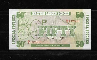 Gb Uk Great Britain M49 1972 50 New Pence Military Au Circulated Old Banknote