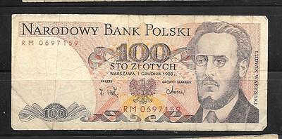 POLAND #143e 1988 VG CIRC 100 ZLOTYCH OLD bill CURRENCY BANKNOTE PAPER MONEY