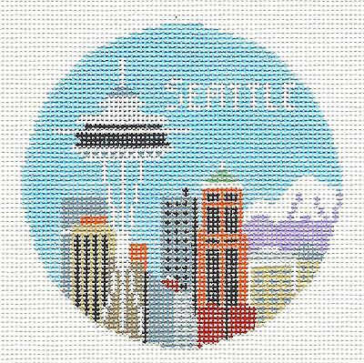 SP.ORDER ~ SEATTLE, WASHINGTON  HP Needlepoint Ornament by Kathy Schenkel RD.