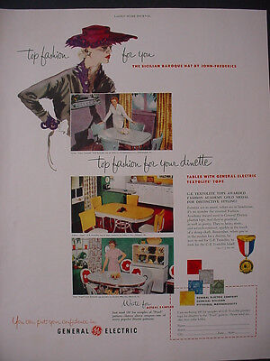 1951 General Electric Dinette Covers Plastic Tops Textolite VTG Print Ad 12273