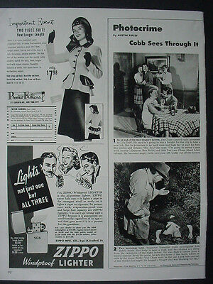 1947 Zippo Lighter Lights not one but three Windproof Vintage Print Ad 12575